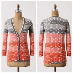 Anthropologie Field of Flowers Coral Gray Cardigan